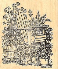 Adirondack Chair & Floral Pot, Wood Mounted Rubber Stamp NORTHWOODS - NEW, P9772
