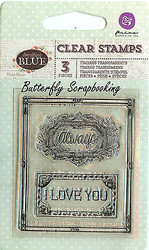 Always Something blue collection Clear Unmounted Rubber Stamps Prima Inc. New