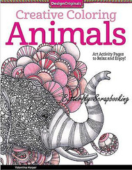 ANIMALS Creative Coloring Book For Markers & Watercolors Design Originals New