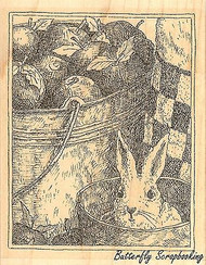 Apple Pail & Bunny, Wood Mounted Rubber Stamp IMPRESSION OBSESSION - NEW, H1973