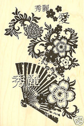 ASIAN FAN FLOWERS Wood Mounted Rubber Stamp INKADINKADO NEW