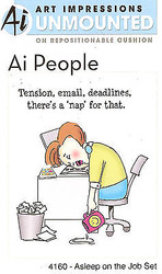 Asleep On The Job Unmounted Rubber Stamp Set AI People Art Impressions NEW