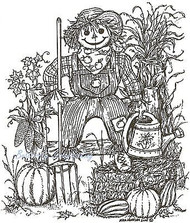 Autumn Fall Scarecrow On Fence Wood Mounted Rubber Stamp Northwoods Rubber Stamp