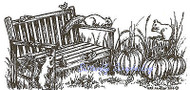 Autumn Fall Squirrels Bench Scene Wood Mounted Rubber Stamp NORTHWOODS O9609 New