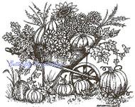 Autumn Thanksgiving Wheelbarrow Wood Mounted Rubber Stamp NORTHWOODS P9617 New