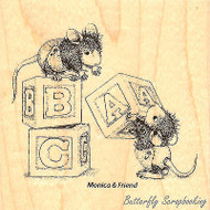 Baby Blocks HOUSE MOUSE Wood Mounted Rubber Stamp STAMPENDOUS, NEW- HMQ03