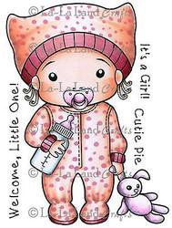 BABY Girl Marci Stamp Set Cling Unmounted Rubber Stamp La La Land Crafts 5239 Ne