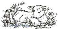 Baby Lamb With Butterfly Wood Mounted Rubber Stamp Northwoods Rubber Stamp New