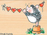 Banner Love Valentine Hedgehog Wood Mounted Rubber Stamp PENNY BLACK 4371J New