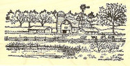 Barn & Cows With Windmill, Wood Mounted Rubber Stamp NORTHWOODS - NEW, O9789