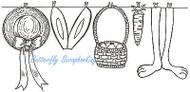 Basket And Bunny Clothes Line, Wood Mounted Rubber Stamp NORTHWOODS - O7251
