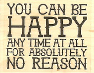 Be Happy Text, Wood Mounted Rubber Stamp IMPRESSION OBSESSION - NEW, D14297