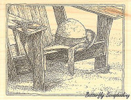 Beach Chair, Wood Mounted Rubber Stamp IMPRESSION OBSESSION - NEW, H1976