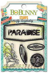 PARADISE Beach Key Lime Clear Unmounted Rubber Stamp Set BoBunny 14505859 New