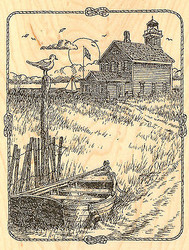 Beach Light House with Boat Wood Mounted Rubber Stamp Impression Obsession NEW