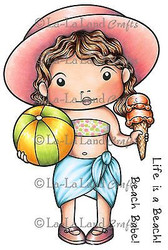 Beach Marci Stamp Set Cling Unmounted Rubber Stamp La La Land Crafts 5219 New