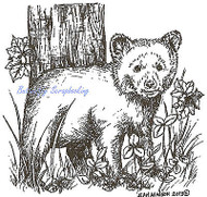Bear Cub by the Tree Wood Mounted Rubber Stamp Northwoods Rubber Stamp New
