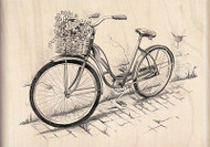 BICYCLE Bike With Flowers Wood Mounted Rubber Stamp INKADINKADO 60-00728 New