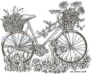 Bike With Flower Baskets Wood Mounted Rubber Stamp Northwoods Rubber Stamp New