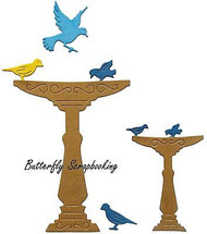 BIRD BATH SET & BIRDS Dies Steel Die Cutting Dies CHEERY LYNN DESIGNS B438 New