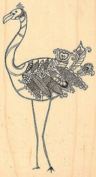 Bird FANCY FLAMINGO Wood Mounted Rubber Stamp Left Impression Obsession NEW