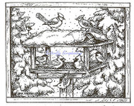 Bird Feeder In Winter Pines, Wood Mounted Rubber Stamp NORTHWOODS - NEW, M9310