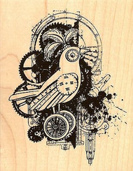 Bird Gears, Wood Mounted Rubber Stamp STAMPENDOUS, NEW - R222
