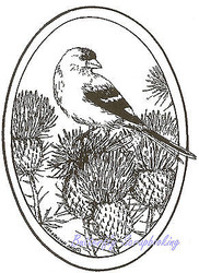 Bird Goldfinch On Thistle Oval Wood Mounted Rubber Stamp NORTHWOODS - M8433 New