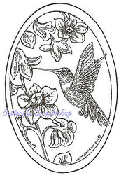 Bird Hummingbird Trumpet Oval Wood Mounted Rubber Stamp NORTHWOODS - P8428 New