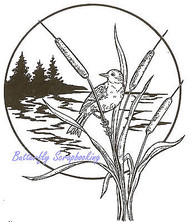 Bird On Cattails Scene Wood Mounted Rubber Stamp NORTHWOODS P684 New