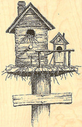 BIRDHOUSE Sweet Home Wood Mounted Rubber Stamp Impression Obsession H1030 NEW