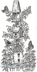 BirdHouse Tower Butterfly Wood Mounted Rubber Stamp Northwoods Rubber Stamp New