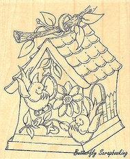 Birdhouse, Wood Mounted Rubber Stamp IMPRESSION OBSESSION - NEW, G16002