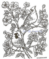 Birds Cardinal Pair Apple Blossom Wood Mounted Rubber Stamp NORTHWOODS P7378 New
