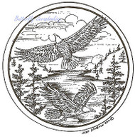 Birds Eagle Pair Pine Circle Wood Mounted Rubber Stamp NORTHWOODS PP7377 New