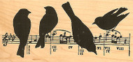 Birds On Music Wood Mounted Rubber Stamp Impression Obsession G13048 NEW