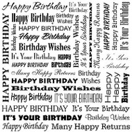 Birthday Cover A Card Background Unmounted Rubber Stamp Impression Obsession New