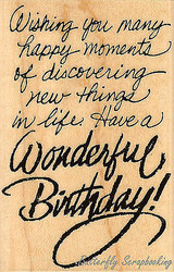 Birthday Wish Text, Wood Mounted Rubber Stamp STAMPENDOUS, NEW - M015