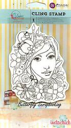 Bloom Girl Karlie Stamp PRIMA MARKETING Cling Unmounted Rubber Stamp 980023 New