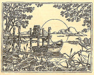 Boat and Pier Scene Wood Mounted Rubber Stamp Impression Obsession NEW