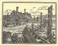 BOAT DOCKS HOUSE SCENE Wood Mounted Rubber Stamp Impression Obsession H1988 NEW