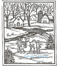 Building A Snowman Scene Wood Mounted Rubber Stamp Northwoods Rubber Stamp New