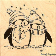 Bundled Penguins Christmas Wood Mounted Rubber Stamp STAMPENDOUS, NEW - Q206