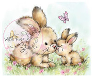 Bunny Rabbits Butterfly Unmounted Rubber Stamp Wild Rose Studio # CL451 New