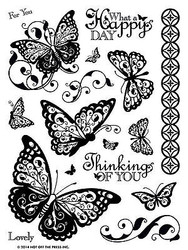 Butterfly Butterflies 17 Stamps Clear Unmounted Rubber Stamps Set HOTP 1148 New
