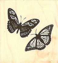 Butterfly Butterflies Wood Mounted Rubber Stamp Impression Obsession B5341 NEW