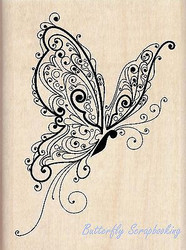BUTTERFLY Flourish Butterfly Wood Mounted Rubber Stamp INKADINKADO 60-00048 NEW