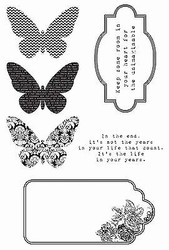 Butterfly Kaleidoscop Collection 6 Clear Unmounted Rubber Stamps Kaisercraft NEW