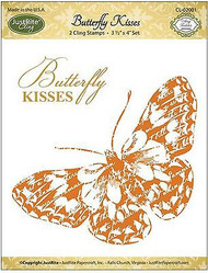 BUTTERFLY KISS Stamp Set Cling Unmounted Rubber Stamps by JustRight CL-02001 NEW