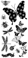 BUTTERFLY Patterned Bugs Clear Unmounted Rubber Stamps Set INKADINKADO 97626 NEW